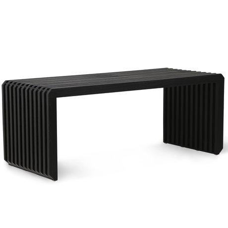HK-living Bankje Slatted zwart hout 96x43x38cm