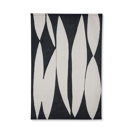 HK-living Tapestry abstract chart black and white cotton 97x2x147cm