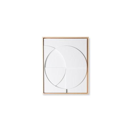 HK-living Kunstlijst schilderij framed relief art panel wit C small 40x4x50cm