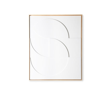 HK-living Art frame painting framed relief art panel white D large 80x4x100cm