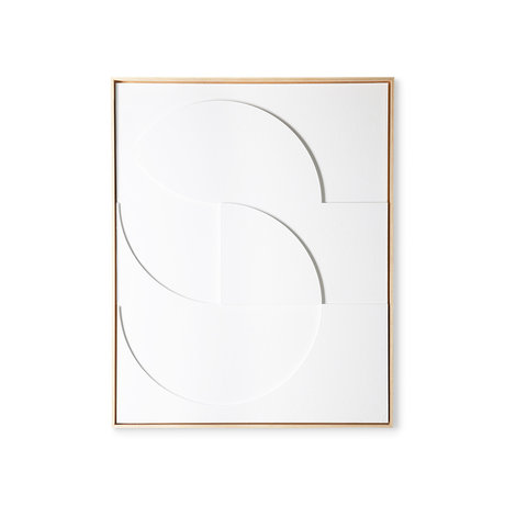HK-living Kunstrahmenmalerei gerahmte Reliefkunstplatte weiß D groß 80x4x100cm