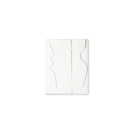 HK-living Painting art panel matt white ceramic 26.5x23.5x2cm