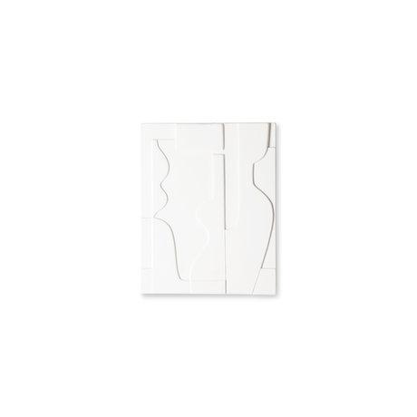 HK-living Panneau d'art peinture céramique blanche mate 26,5x23,5x2cm