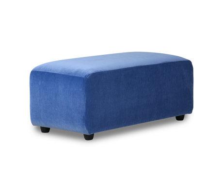 HK-living Sofa element Jax hocker small blue royal velvet textile 47x95x43cm