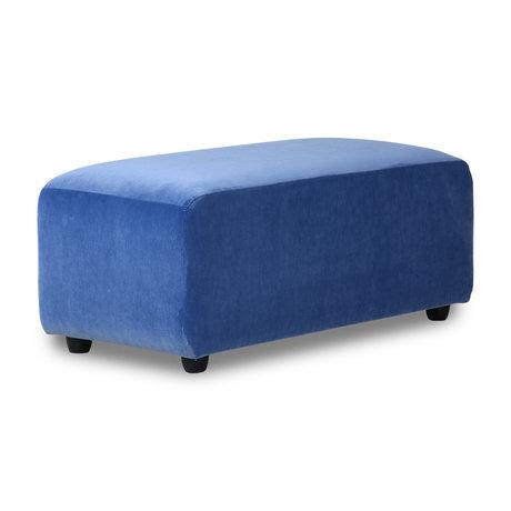 HK-living Sofa Element Jax Hocker kleines blaues Royal Samt Textil 47x95x43cm