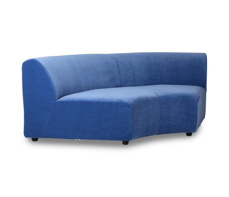 HK-living Elément de canapé Jax rond textile velours royal bleu 150x95x74cm