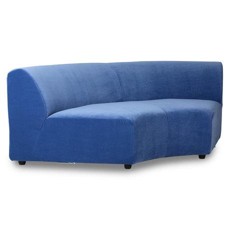 HK-living Sofa element Jax round blue royal velvet textile 150x95x74cm