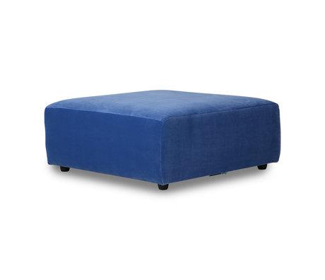 HK-living Sofa element Jax hocker blue royal velvet textile 94x94x43cm