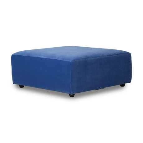 HK-living Bank element Jax hocker blauw royal velvet textiel 94x94x43cm