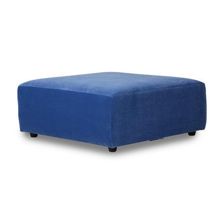 HK-living Sofa Element Jax Hocker blau Royal Samt Textil 94x94x43cm