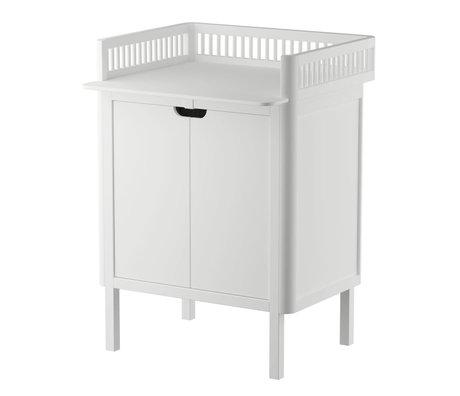 Sebra Wickeltisch mit Türen aus weißem Holz 70x75x85cm