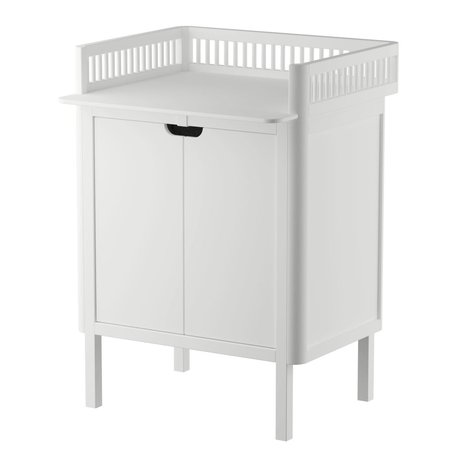 Sebra Baby changing table with doors in white wood 70x75x85cm