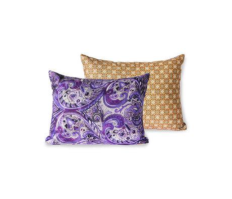 HK-living Sierkussen Doris for Hkliving purple paars geprint textiel 30x40cm