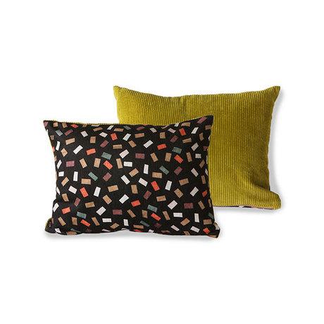 HK-living Throw pillow Doris for HKliving flakes printed rib textile 30x40cm