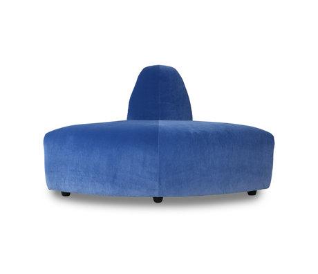 HK-living Sofa Element Jax Ecke blau Royal Samt Textil 95x95x74cm