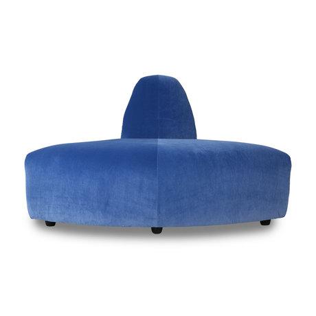 HK-living Sofa element Jax corner blue royal velvet textile 95x95x74cm
