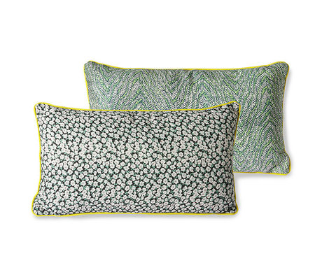 HK-living Throw pillow Doris for Hkliving green printed textile 35x60cm