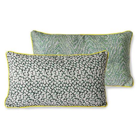 HK-living Sierkussen Doris for Hkliving groen geprint textiel 35x60cm