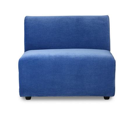 HK-living Sofa Element Jax Mittelblau Royal Samt Textil 87x95x74cm