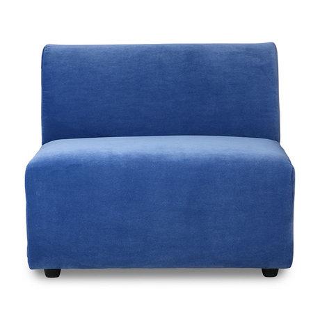 HK-living Bank element Jax midden blauw royal velvet textiel 87x95x74cm