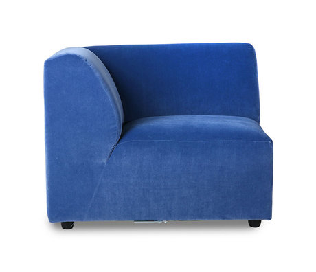 HK-living Bank element Jax links blauw royal velvet textiel 95x95x74cm