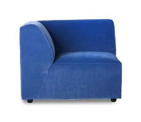 HK-living Elément de canapé Jax gauche textile velours bleu royal 95x95x74cm