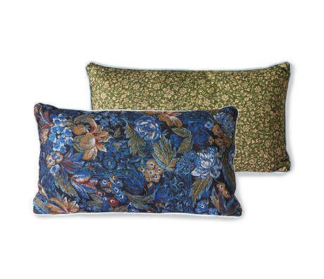 HK-living Sierkussen Doris for Hkliving blauw geprint textiel 35x60cm