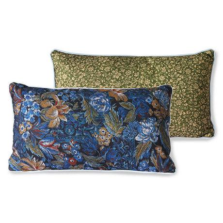 HK-living Throw pillow Doris for Hkliving blue printed textile 35x60cm