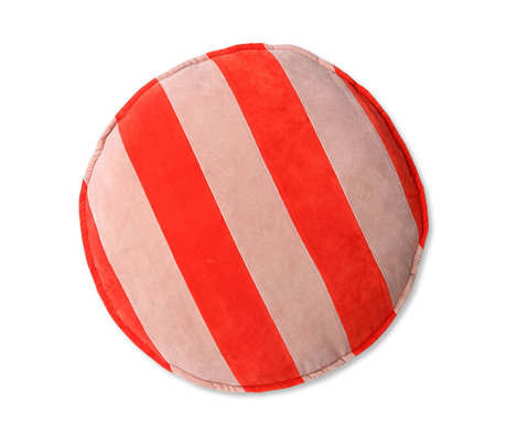 HK-living Decorative cushion around red pink velvet 60x60x5cm