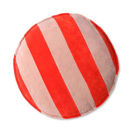 HK-living Sierkussen rond rood roze velvet 60x60x5cm