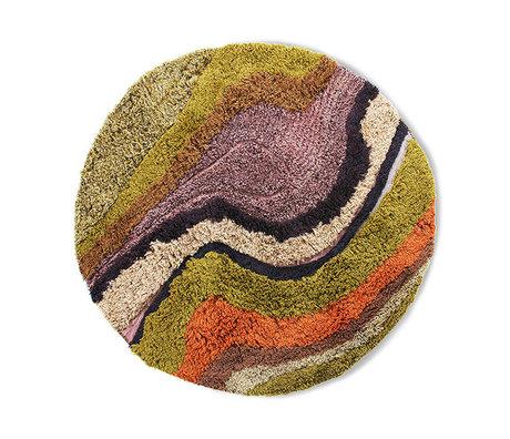 HK-living Teppich um büschelige mehrfarbige Wollbaumwolle 150cm