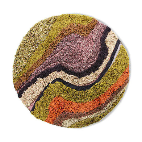 HK-living Rug around tufted gradient multicolour wool cotton 150cm