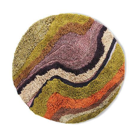 HK-living Vloerkleed rond tufted gradient multicolour wol katoen 150cm