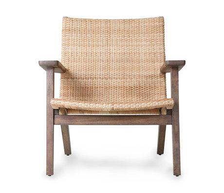HK-living Fauteuil woven lounge chair bruin rotan 72x72,5x76,5cm