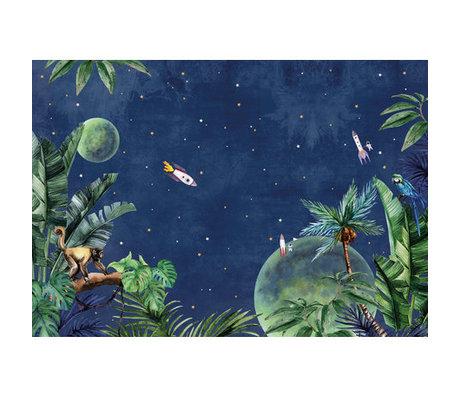 Creative Lab Amsterdam Behang Jungle to Space Mural multicolour vliesbehang 400x280cm