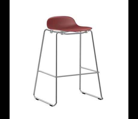 Normann Copenhagen bar stool stacking form red plastic chrome 75cm