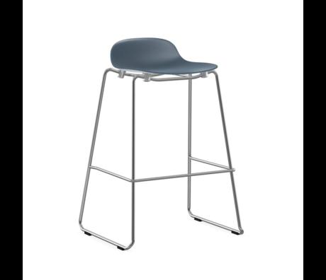 Normann Copenhagen bar stool stacking form blue plastic chrome 75cm