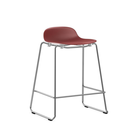 Normann Copenhagen bar stool stacking form red plastic chrome 65cm