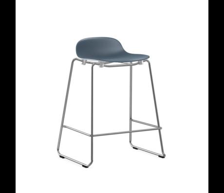 Normann Copenhagen bar stool stacking form blue plastic chrome 65cm