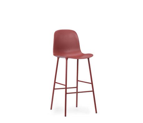 Normann Copenhagen tabouret de bar dossier forme plastique rouge acier 75cm