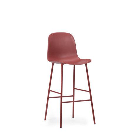 Normann Copenhagen bar stool backrest form red plastic steel 75cm