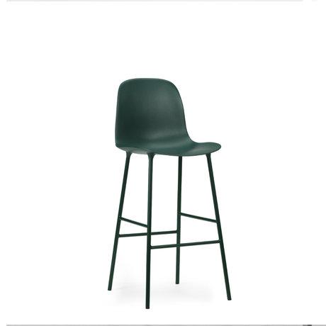 Normann Copenhagen bar stool backrest form green plastic steel 75cm