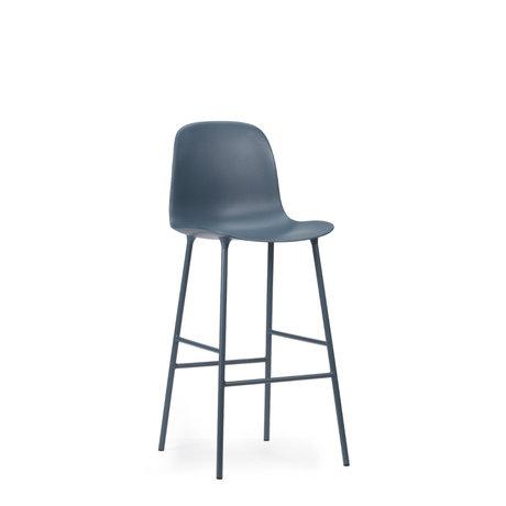 Normann Copenhagen bar stool backrest form blue plastic steel 75cm