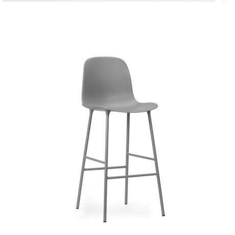 Normann Copenhagen Barhocker Rückenlehne aus grauem Kunststoff Stahl 75cm