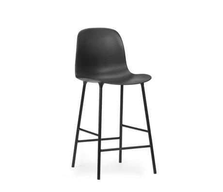 Normann Copenhagen tabouret de bar dossier forme plastique noir acier 65cm