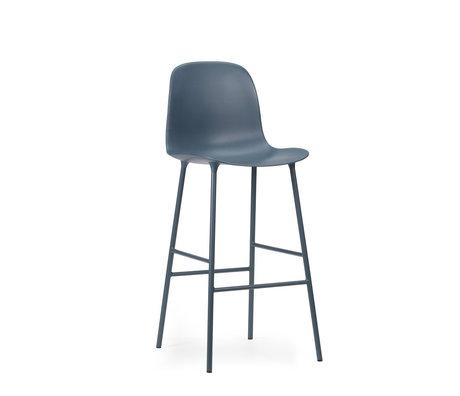 Normann Copenhagen bar stool backrest form blue plastic steel 65cm
