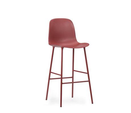 Normann Copenhagen tabouret de bar dossier forme plastique rouge acier 65cm