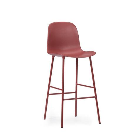 Normann Copenhagen bar stool backrest form red plastic steel 65cm