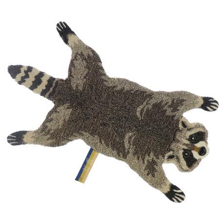 Doing Goods Teppich Rocky Racoon kleine braune Wolle 68x111cm