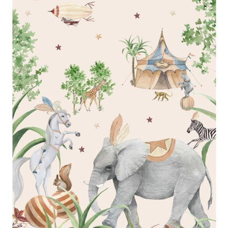 Creative Lab Amsterdam Behang Elephant Setting Mural multicolour vliesbehang 200x280cm